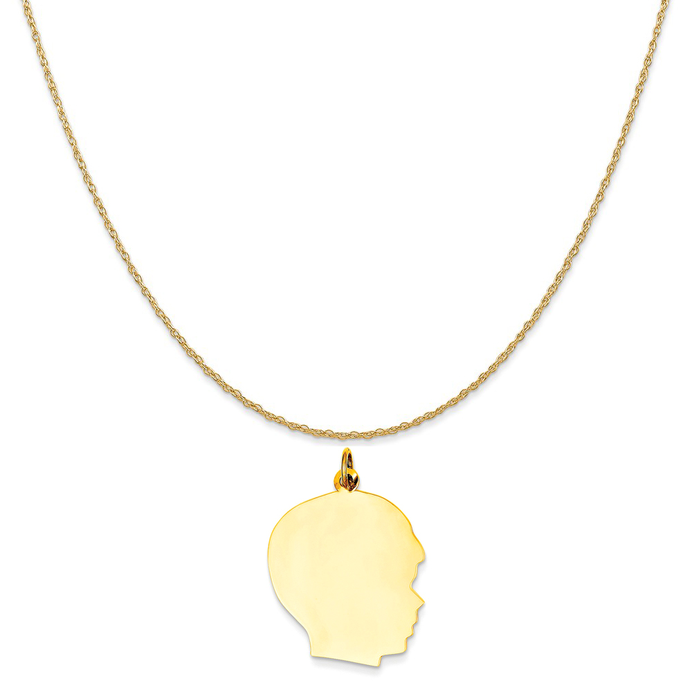 14k Yellow Gold Plain Large .011 Gauge Facing Right Engravable Boy Head Charm on Rope Necklace, 20