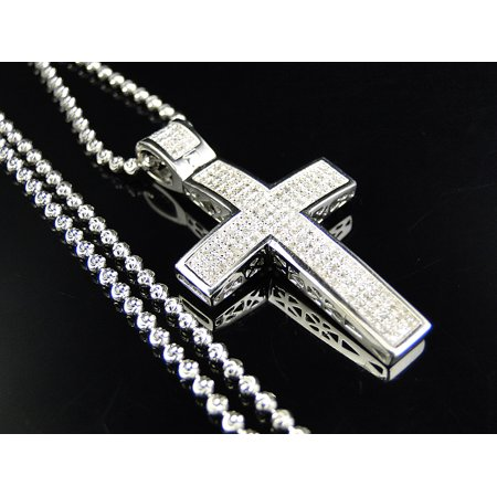 Harvest Mini Pendant - Genuine Diamond Mini Cross Pendant & Chain Finished In 10K White Gold (.75 Ct)