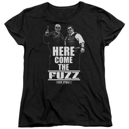 Trevco HOT FUZZ HERE COME THE FUZZ Black Adult Female T-Shirt - Hot Female Bikers