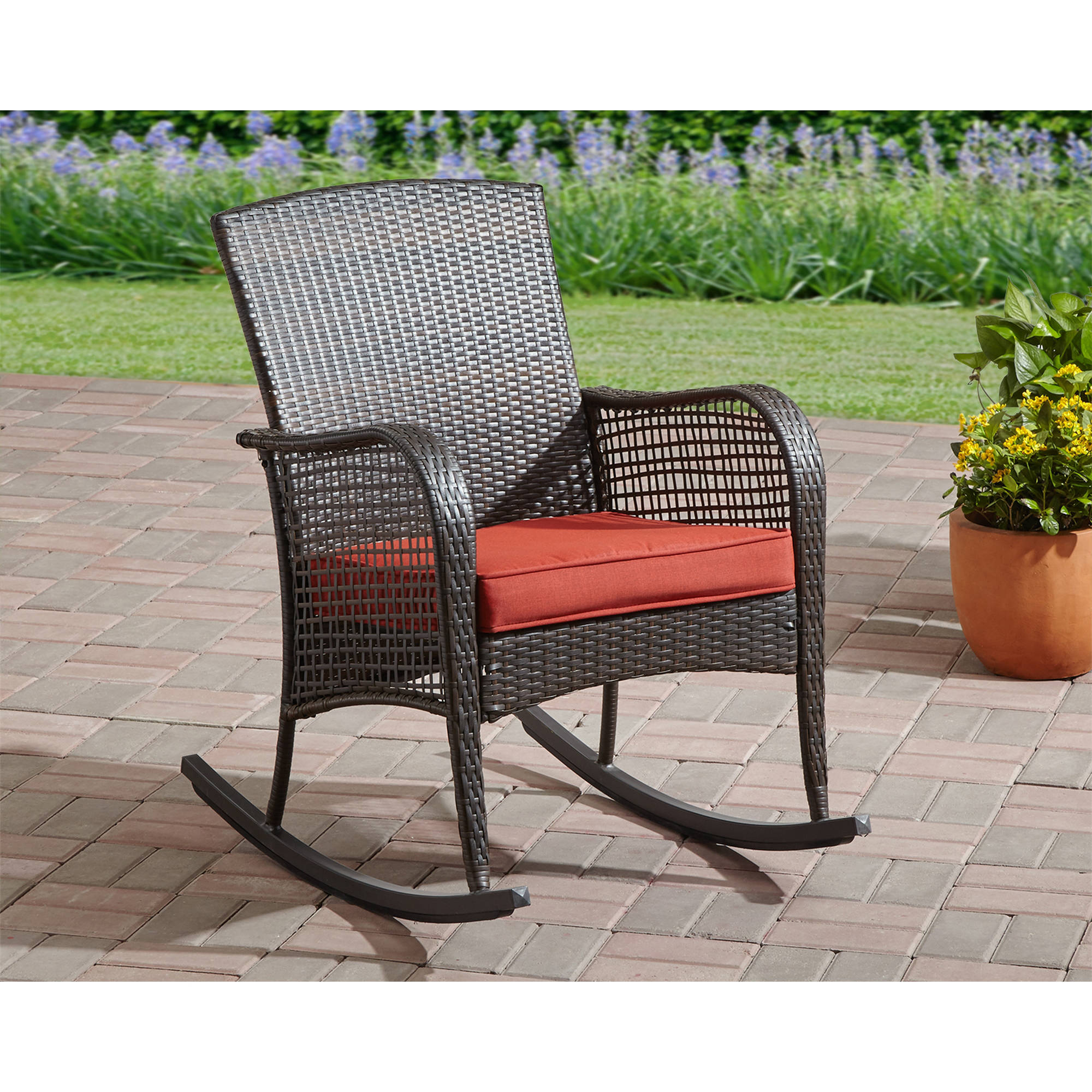 Mainstays Cambridge Park Wicker Rocking Chair Walmart