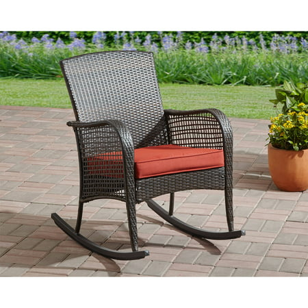 Mainstays Cambridge Park Wicker Outdoor Rocking Chair Walmartcom