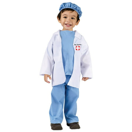 Fun World Costumes Baby's Doctor Toddler Costume, Blue/White, Small(24MO-2T)