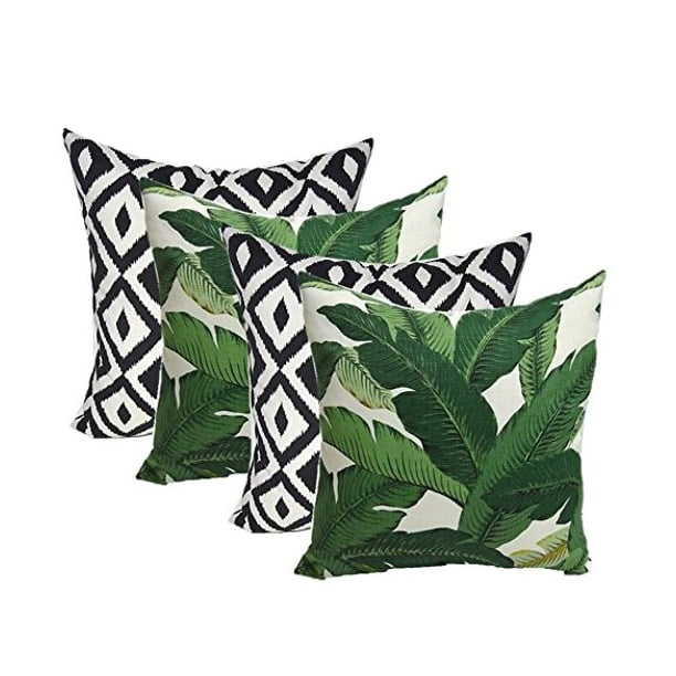 Rsh Décor Indoor Outdoor Set Of 4 Square Pillows Weather Resistant 20 X 20 Made With Tommy Bahama Swaying Palms Aloe Green Tropical Palm Leaf Fabric Black White Aztec Geometric