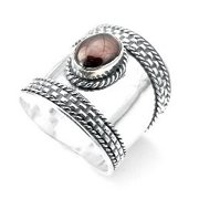 Sterling Silver Scottish Dukes Garnet Armor Ring