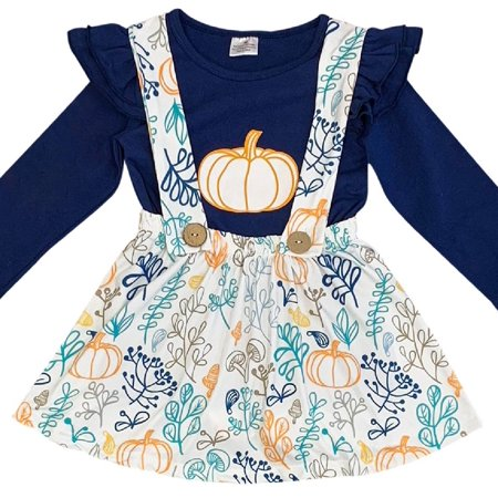 - Little Girl Dress Kids 2 Pieces Skirt Set Thanksgiving Pumpkin Top Suspender Dress Set Navy 2T XS (202003)