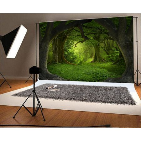 GreenDecor Polyster 7x5ft Backdrop Photography Background Fairy Tale Forest Deep Tropical Jungles Southeast Asia Old Trees Misty Scene Princess Girls Children Portraits Backdrop Photo Studio