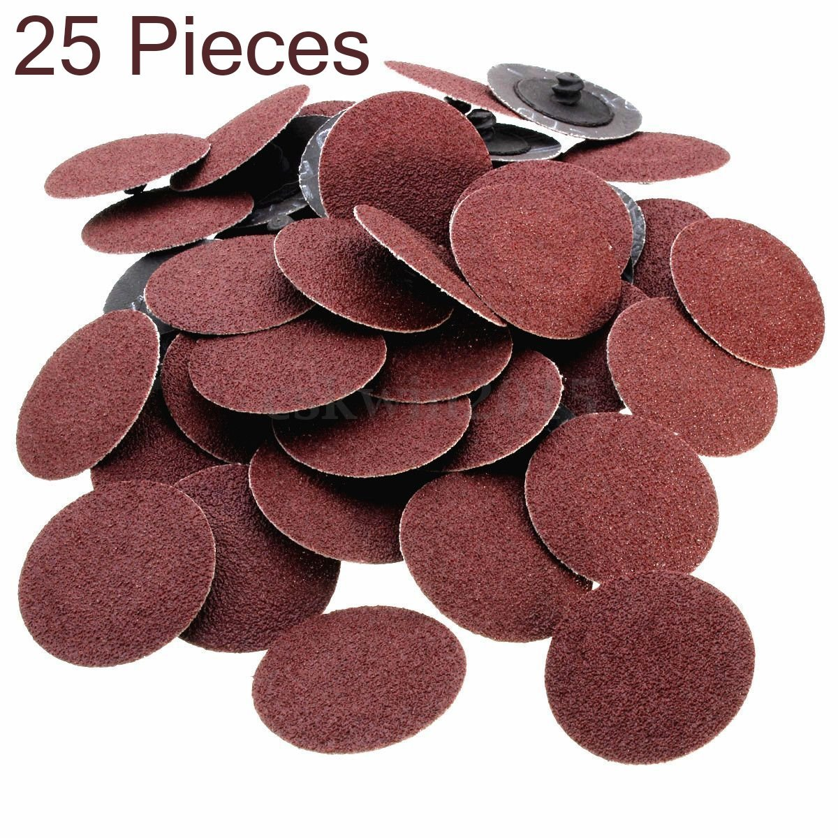 50-Pc 2-Inch Roll Lock Sanding Disc 24 36 60 80 120 Grit Assortment with Mandrel