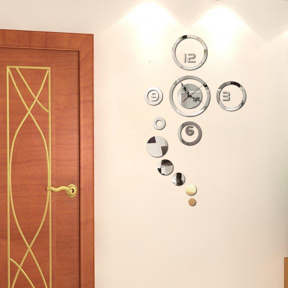 Modern Design 3D Mirror Clock, Creative DIY Wall Sticker Clock, Ideal for Decorating... by