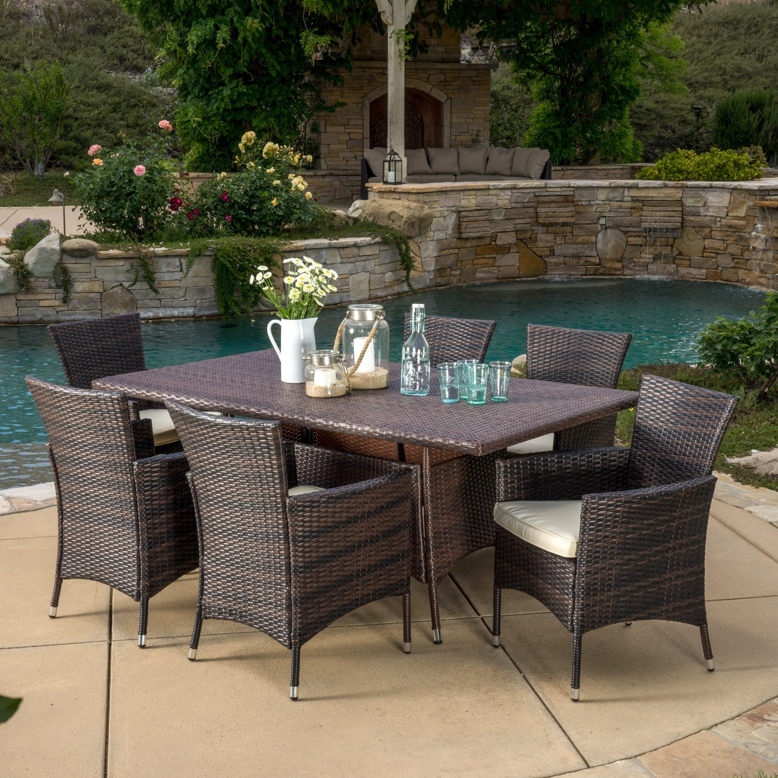 Christopher Knight Home Jennifer Outdoor 7-piece Wicker Dining Set with Cushions by