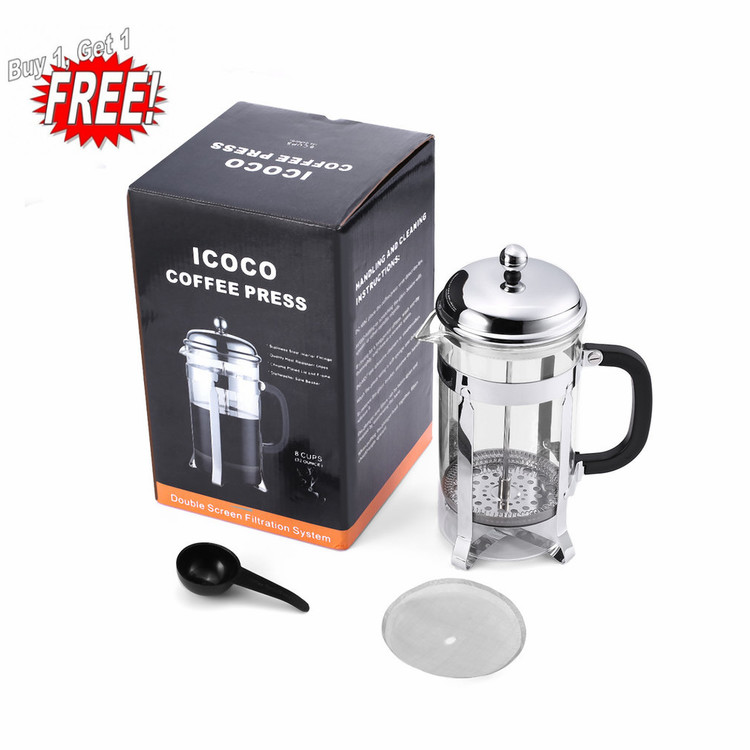 Oie Loves 2PCS Icoco 1L Heat Resistant Glass Double-Screen Stainless Steel Filter Coffee Press
