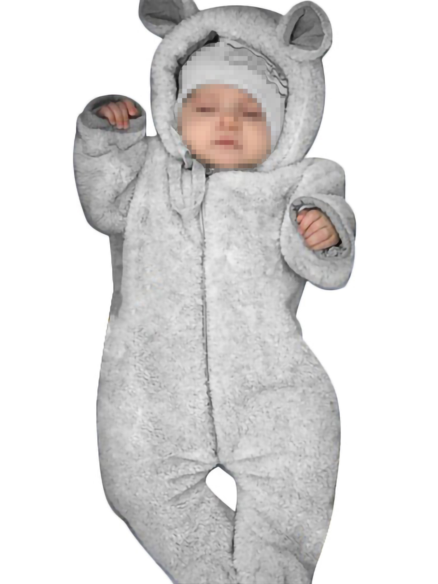 Newborn Fleece Romper Baby Boys Gilrs Jumpsuit Footies Winter Warm Sleepsuit Long Sleeve Onesie 0-3 Months