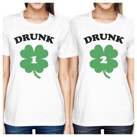 Drunk1 Drunk2 Womens White Cute Best Friend T-Shirt St Patricks