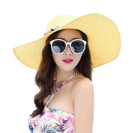 Women's Wide Brim Hat Summer Beach Sun Straw Cap Floppy Hats (Yellow) (Yellow Top Hat)