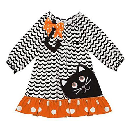 Rare Editions Girls' Halloween Black Cat Costume Outfit
