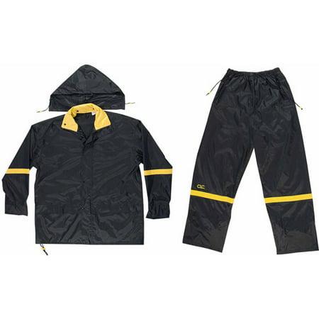 Custom Leathercraft 3XL Black Nylon Rain Suit Set, 3pk