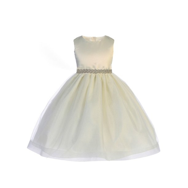 Crayon Kids Girls Ivory Sparkle Trim Adorned Junior Bridesmaid Dress