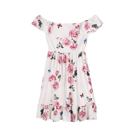 Mommy and Me Family Matching Dress Mother Daughter Floral Holiday Midi Dress