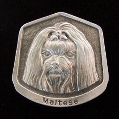Maltese Fine Pewter Dog Breed Ornament The sculpted image of your pet is surrounded with a wreath of holly and ivy. You will treasure this ornament for years to come. hey are made of Fine Pewter and come in a Christmas gift box for storing. Lindsay Claire is a Canadian manufacturer of Fine Pewter Gifts and Collectibles.  Each pewter item is cast in our shop from fine pewter and meticulously hand polished to a satin finish.Ornament is approximately 3  and has a satin cord attached for hanging.