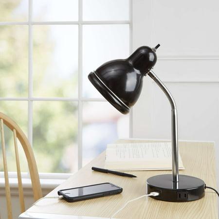 Black Gooseneck Lamp (Mainstays USB Desk Lamp, Black Finish with Chrome)