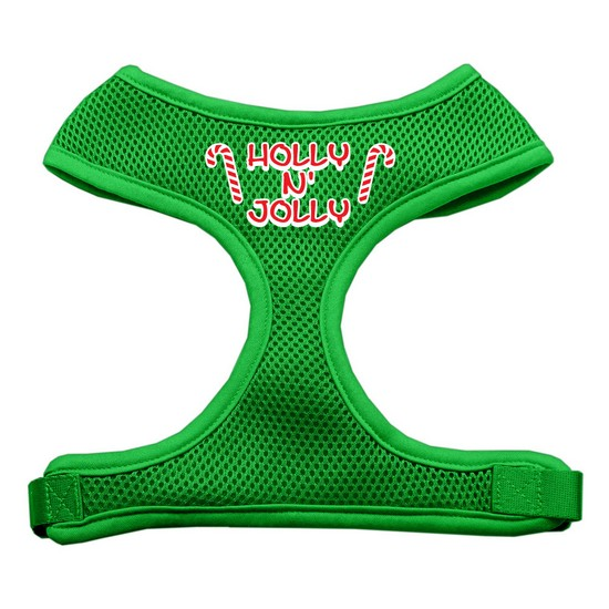 Holly N Jolly Screen Print Soft Mesh Harness  Emerald Green Large