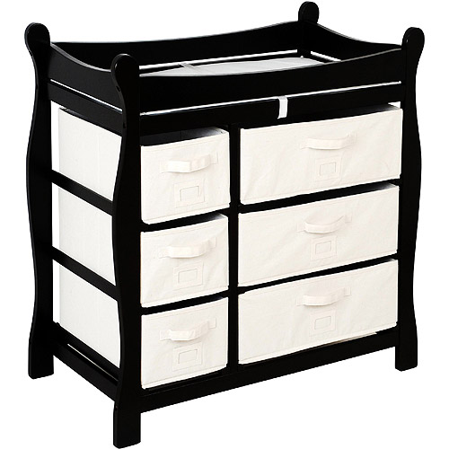 Badger Basket - Changing Table with Six Baskets, Black