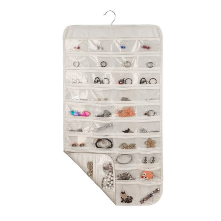 TSV Household Double Sided 80 Pockets Hanging Jewelry Organizer Super Space-saving/Time-saving Ideal for Bathroom Travel Use