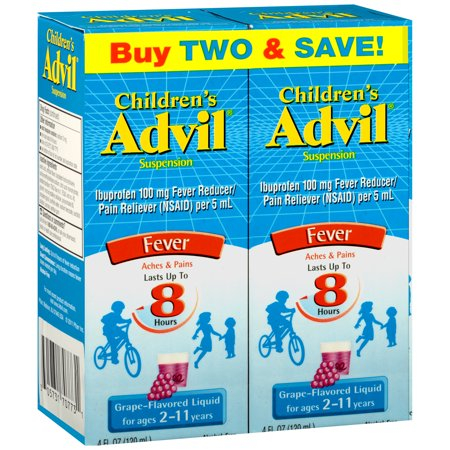 Children's Advil ® Liquid Suspension Fever Reducer/Pain Reliever (Ibuprofen) 2-Pack in Grape Flavor 100mg 2-4 fl. oz. Boxes