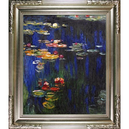 Lilies Oil Painting - Tori Home Water Lilies Green Reflection by Claude Monet Framed Painting Print