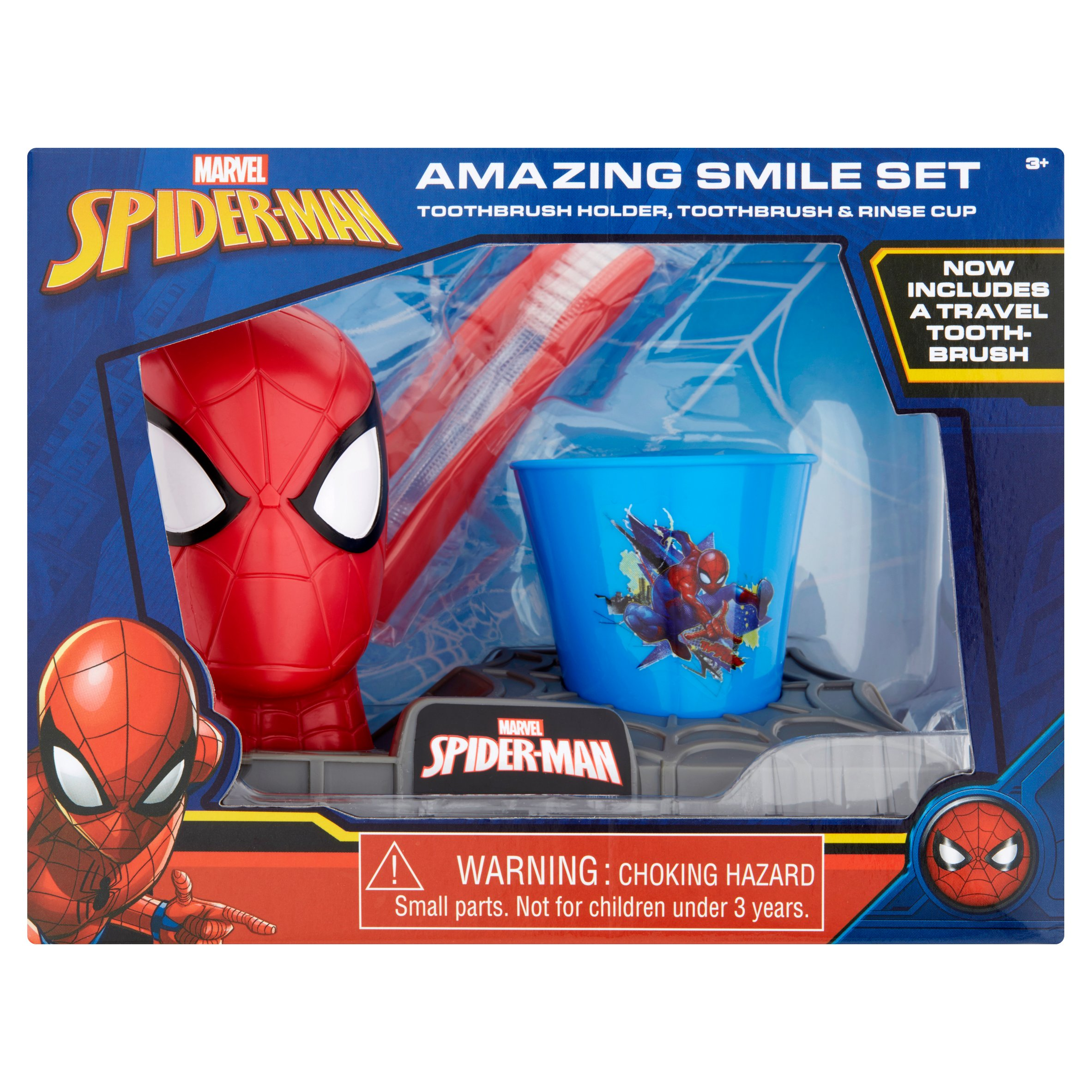 Marvel Spiderman Toothbrush, Toothbrush Holder, Rinse Cup Gift Set, 3pcs