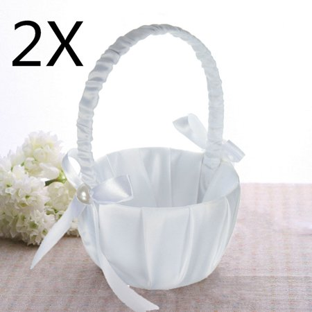 2Pcs White Satin Beaded Flower Girl Basket Bowknot Decor for Wedding Ceremony Party (White Flower Girl Basket)