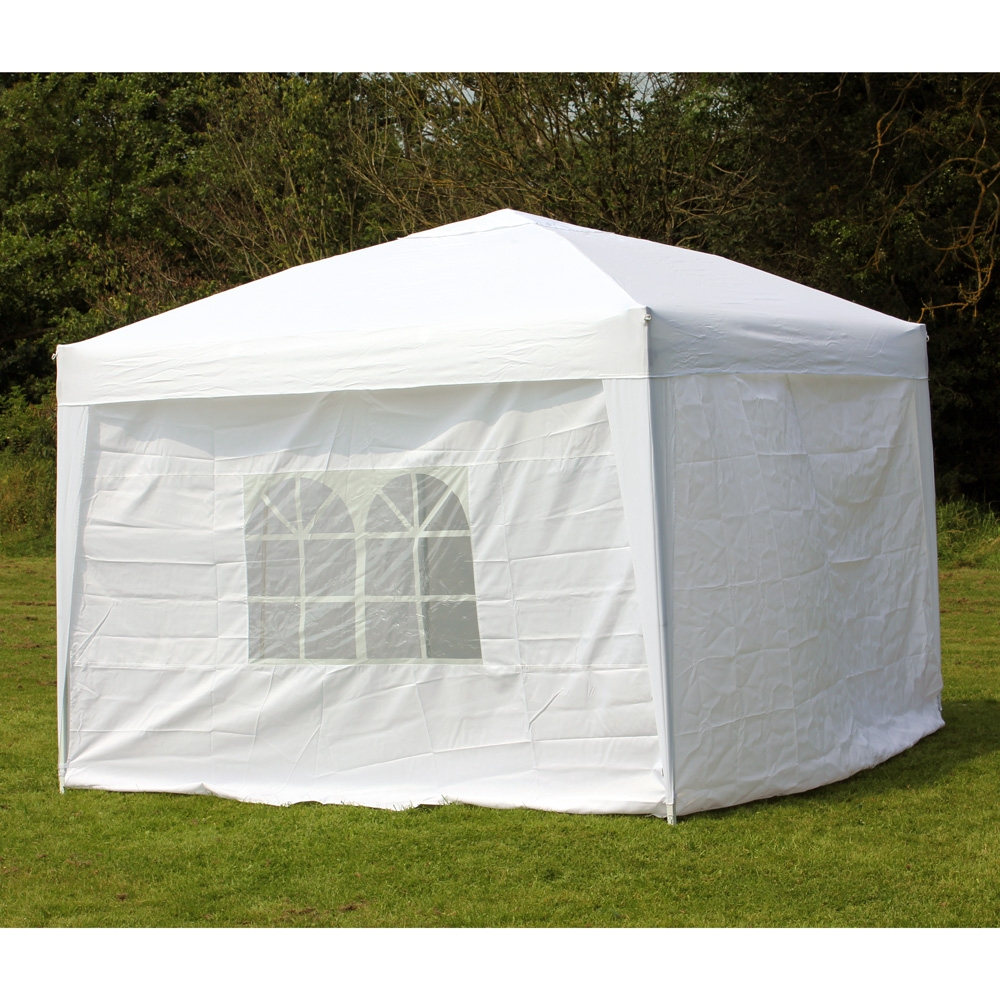10 X 10 PALM SPRINGS EZ POP UP WHITE CANOPY GAZEBO TENT WITH 4 SIDE WALLS
