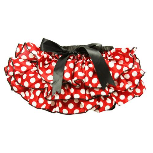 Baby Girls Red and Black White Polka Dot Satin Bloomers 6-24 Months