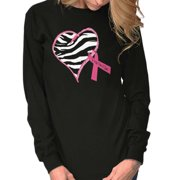 Brisco Brands Breast Cancer Zebra Print BCA Ladies Long Sleeve T-Shirt