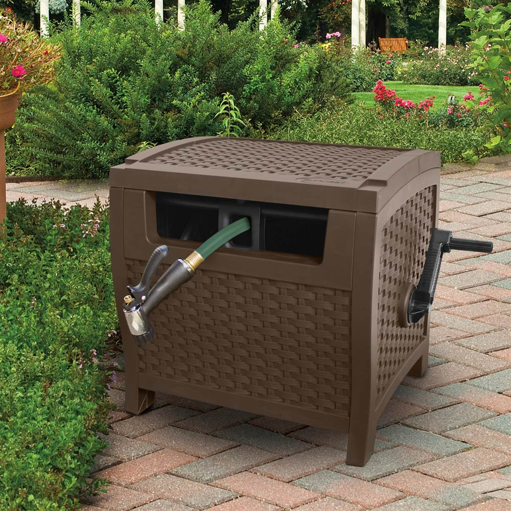 Portable Outdoor Storage Box Garden Hideaway Water Hose Reel Bin Patio  Container