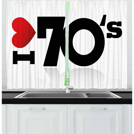 70s Party Curtains 2 Panels Set, Love The Seventies Theme Stylized Letters and Heart Sign Oldies But Goldies, Window Drapes for Living Room Bedroom, 55W X 39L Inches, Red Black White, by Ambesonne - Seventies Themed Party