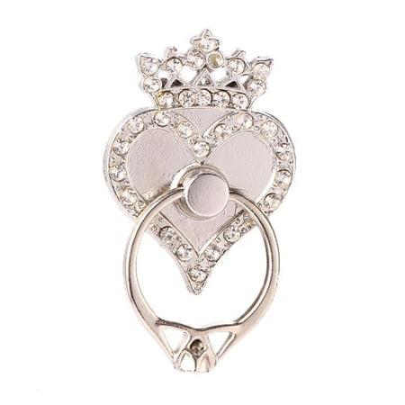 Rings Finger Phone Holder Stand Rhinestone Heart Shape Phone Grip HFON Grip Holder Set