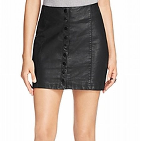 5883fa7ca692 Free People - Free People NEW Black Womens Size 8 Button-Front Faux-Leather  Mini Skirt - Walmart.com