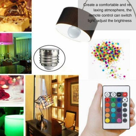 3W RGB LED Light Bulb Colorful E27 Lamp Indoor Wireless With Remote Controller - image 5 of 10