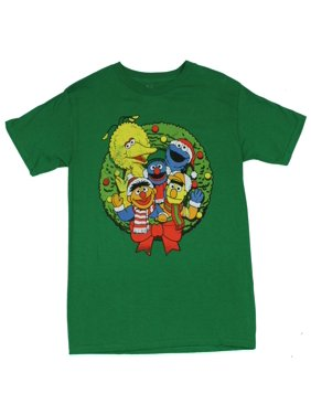 d8d118ff Product Image Sesame Street Mens T-Shirt - Christmas Wreath Image Of  Classic Characters