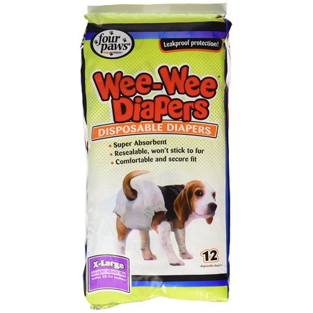 Wee Wee Disposable Doggie Diapers  Wee Wee Diapers Provide A Worry Free Solution For Incontinence  Puppies  Females In Season  And Excitable Urination Ship From Us     By Four Paws