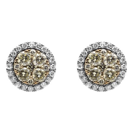 9 5mm Cer Canary Diamond Earrings In 14k Gold 1 25 Ct