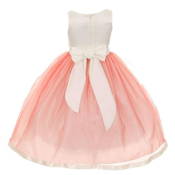 b956ab57e KiKi Kids USA - Girls Coral V-Neck Satin Bow 3 Layer Tulle Flower ...
