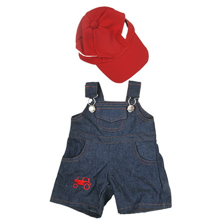 Teddy Bear Outfit For Dogs (Farmer Outfit with Cap Teddy Bear Clothes Fits Most 14