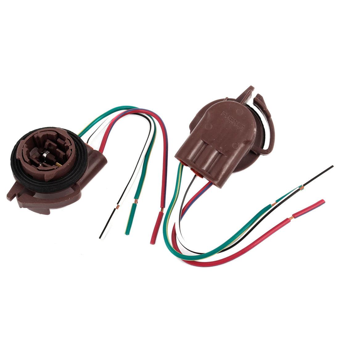 2 Pcs Auto Car Brown Plastic Water Resist 3157 Type Turn Signal Light Socket - image 1 de 1