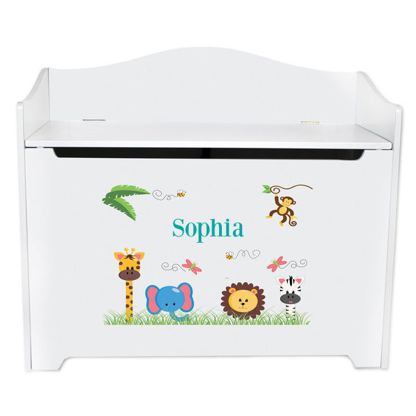 Personalized Jungle Animals Girl White Toy Box Bench