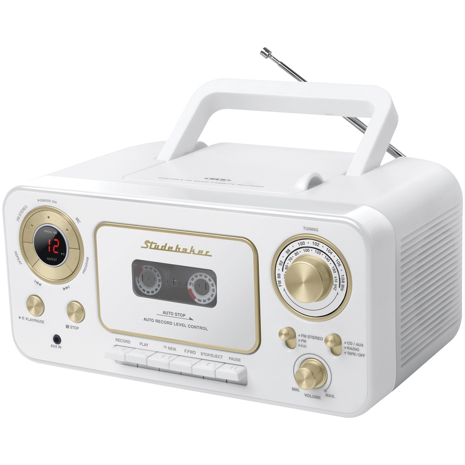 Studebaker SB2135WG Portable CD Player with AM/FM Radio & Cassette Player/Recorder (White & Gold)