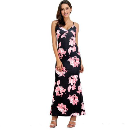 9e5cf75dcf22 VISTA - Women Summer Sleeveless Boho Floral Long Maxi Dress Evening Party  Cocktail Beach Sundress - Walmart.com