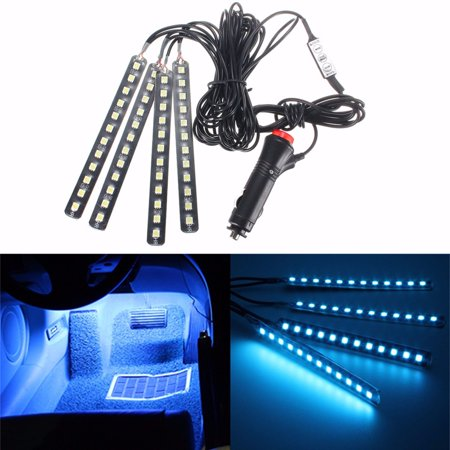 Car Interior Lights, GLIME 4-Piece 12 LED Car Atmosphere Light,Interior  Underdash Lighting Kit ,Auto Floor Lights,Waterproof Glow Neon Light Strips