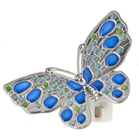 Butterfly Night Light With Blue and Light Blue Inlays - By Ganz
