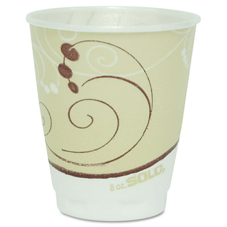 Plastic Trophy Cups - SOLO Cup Company Symphony Design Trophy Foam Hot/Cold Drink Cups, 8 oz., Beige, 100/Pack